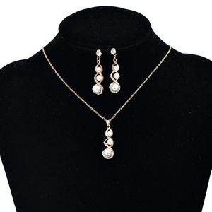 Gold Pearl Trio Necklace & Earring Set